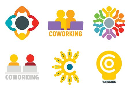 Coworking logo set, flat style