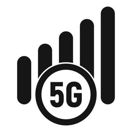 5g mobile icon, simple style