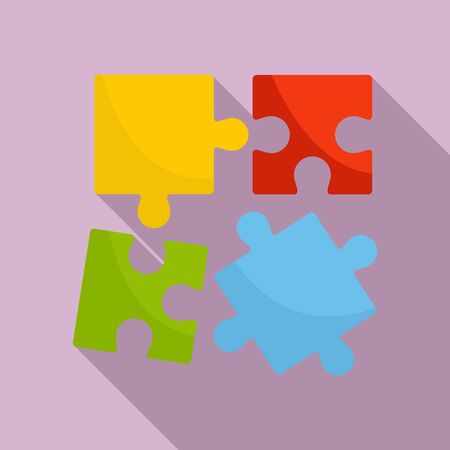 Alzheimer puzzle test icon, flat style