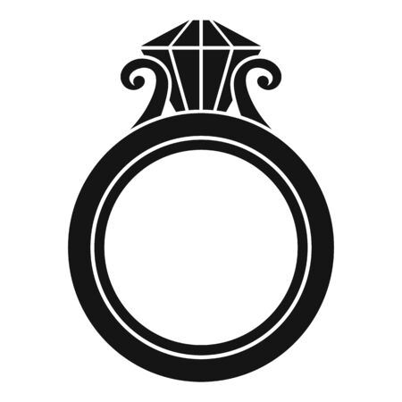 Ruby gold ring icon, simple style