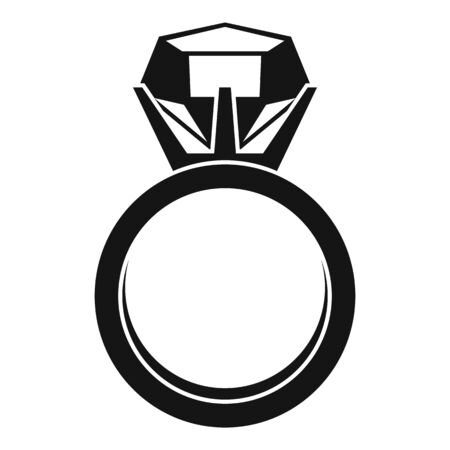 Gemstone ring icon, simple style