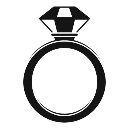 Crystal gemstone ring icon, simple style