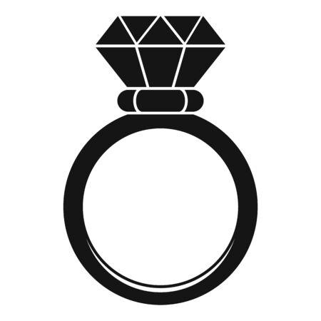 Ceremonial diamond ring icon, simple style