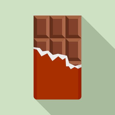 Chocolate bar icon, flat style