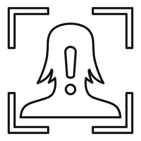 Face recognition alert icon, outline style