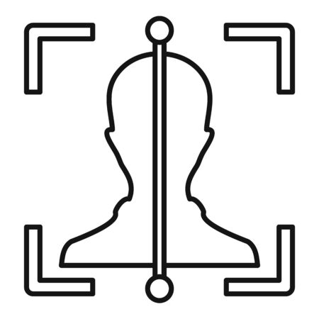 Line face scan icon, outline style