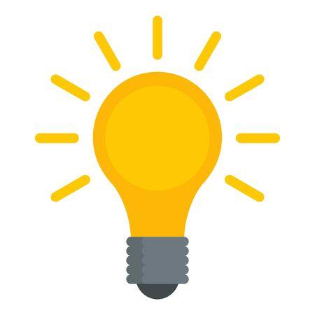 Light bulb icon, flat style Ilustração