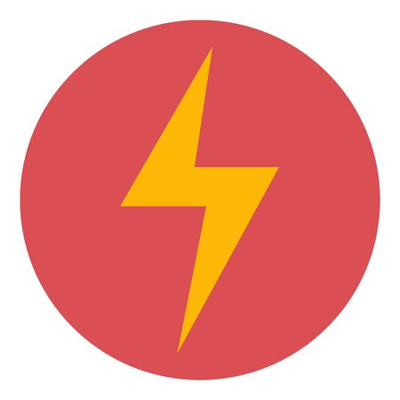 Lightning bolt in circle icon, flat style  イラスト・ベクター素材