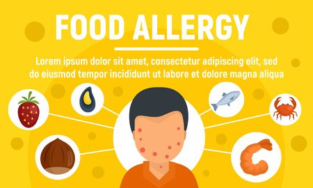 Food allergy concept banner, flat style Vettoriali