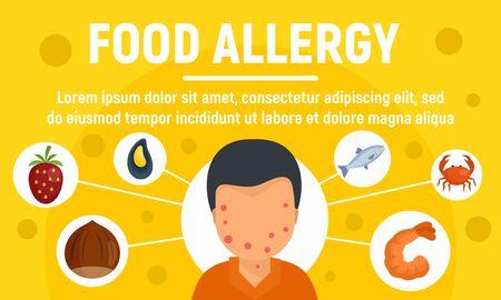Food allergy concept banner, flat style Stock Illustratie