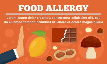 Stop food allergy concept banner, flat style