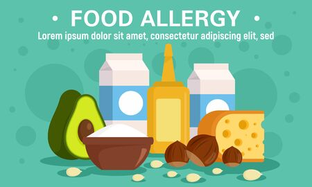 Market food allergy concept banner, flat style