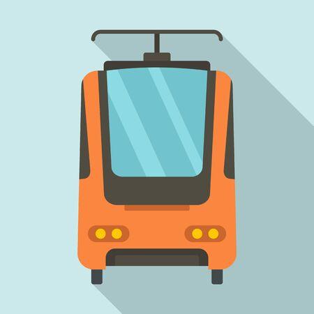 Electric train icon, flat style Stock Illustratie