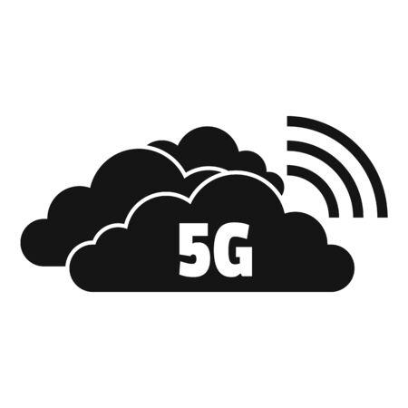 5g cloud technology icon, simple style Stock Illustratie
