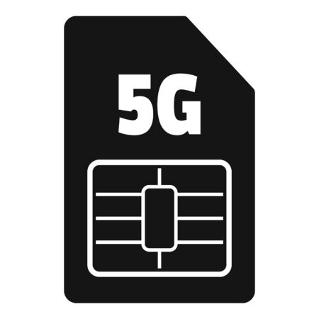 5g phone card icon, simple style Stock Illustratie
