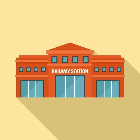 Railway station icon, flat style