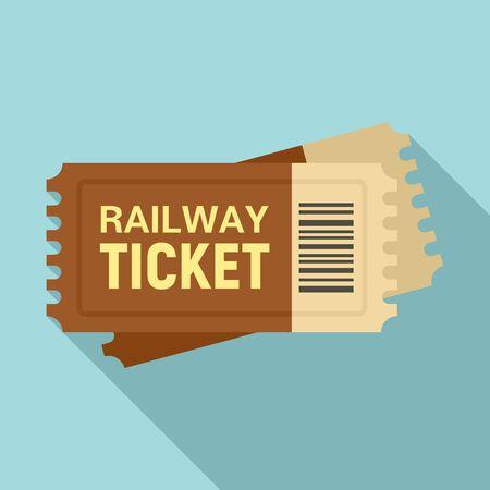 Railway ticket icon, flat style Ilustração