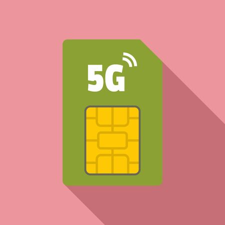 5g phone card icon, flat style