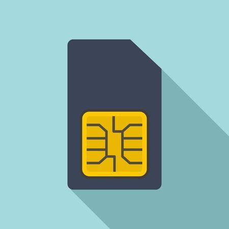 Phone sim card icon, flat style Stock Illustratie