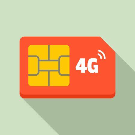4g sim card icon, flat style