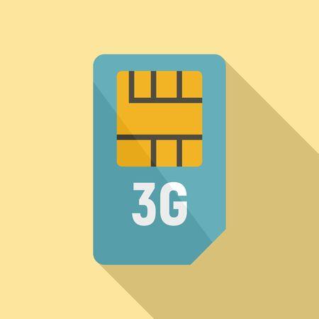 3g sim card icon, flat style