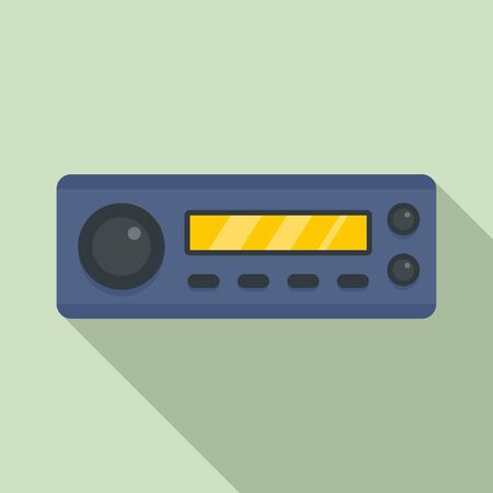 Compact car audio icon, flat style