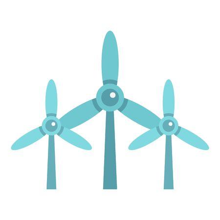 Wind turbine plant icon, flat style Stock Illustratie