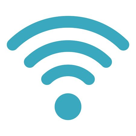 Blue wifi sign icon, flat style