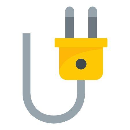 Electric plug icon, flat style Ilustração