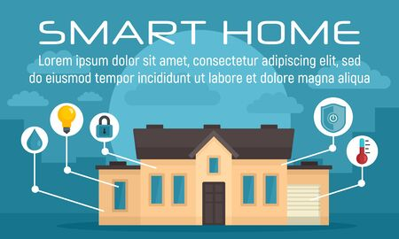 Luxury smart home concept banner, flat style Stock Illustratie