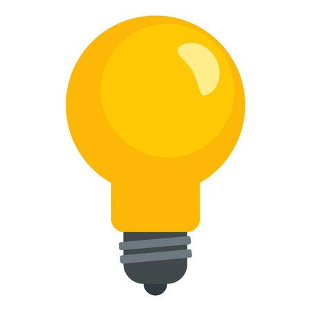 Yellow bulb icon, flat style