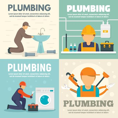 Plumbing banner set, flat style Stock Illustratie