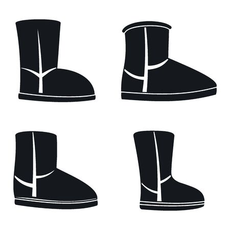 Casual ugg boots icons set, simple style