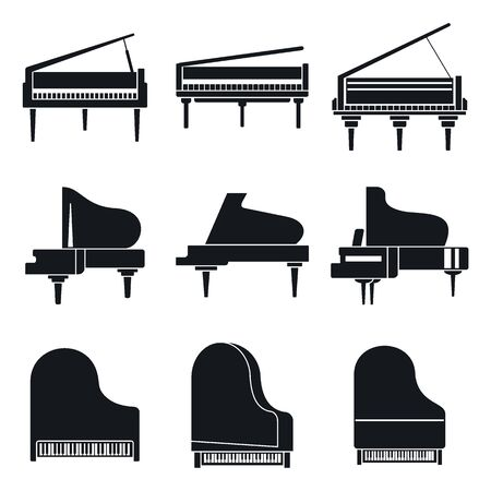 Music grand piano icons set, simple style