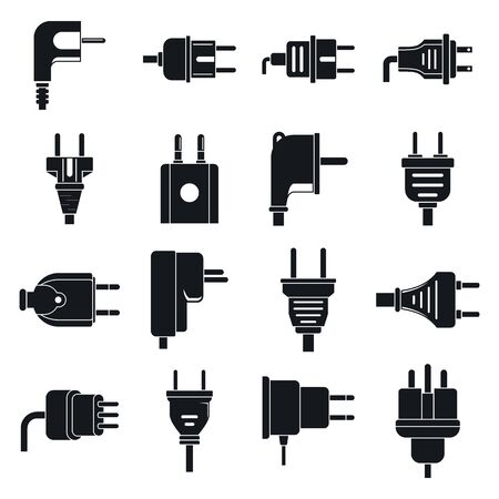 Electric plug icons set, simple style Ilustração