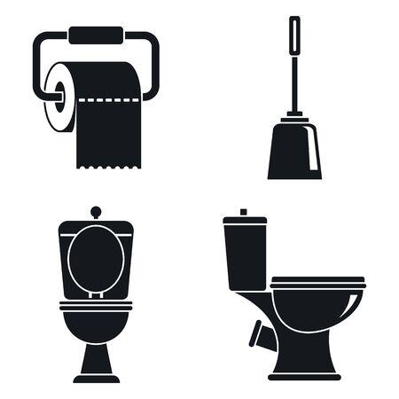 Toilet wc icons set, simple style Çizim