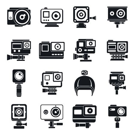 Modern action camera icons set, simple style