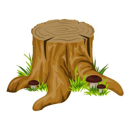 Stump with mushroom icon, cartoon style Stock Illustratie