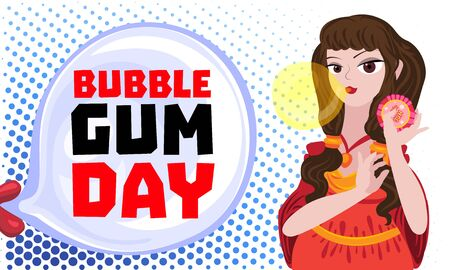 Bubble gum day concept banner, cartoon style Stock Illustratie
