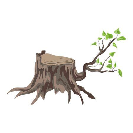 Tree stump with branch icon, cartoon style Ilustracja
