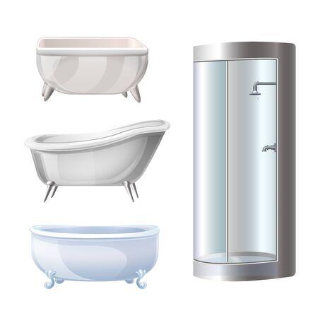 Bathtub icons set, cartoon style