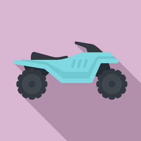 Motocross quad bike icon, flat style Illustration