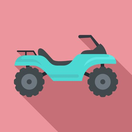 Challenge quad bike icon, flat style Illustration
