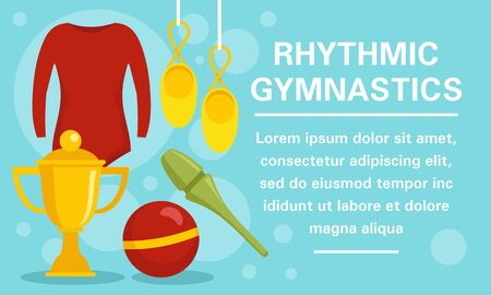 Rhythmic gymnastics equipment concept banner, flat style Ilustrace