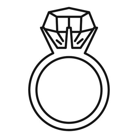 Gemstone ring icon, outline style Standard-Bild - 128982878