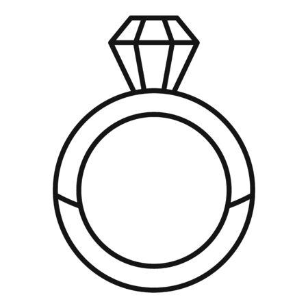 Luxury diamond ring icon, outline style Standard-Bild - 128982884