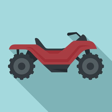 Long quad bike icon, flat style