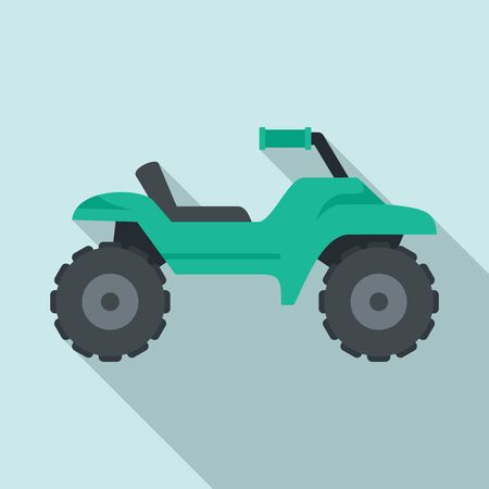 Dirt tire quad bike icon, flat style