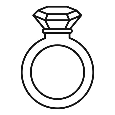 Crystal ring icon. Outline crystal ring vector icon for web design isolated on white background Иллюстрация