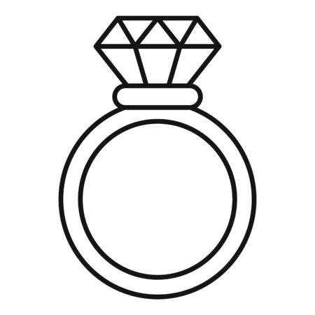 Brilliant ring icon, outline style Standard-Bild - 128983247
